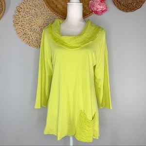 Fenini Size Medium Cowl Neck 3/4 Sleeve Tunic Pullover Top Linen Lime Green